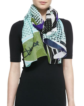 Eaden Petal Collage Printed Scarf, Mint/Green