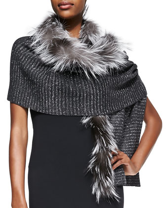 Knit Scarf with Fox Fur Trim, Gray