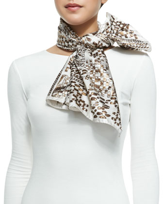 Sketch Printed Foulard Scarf, White/Gold