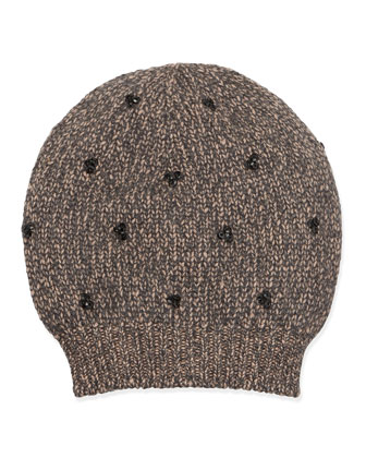 Sequin-Cluster Knit Hat