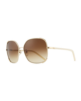 Nerine Oversized Sunglasses with Leather, Gold/Cream
