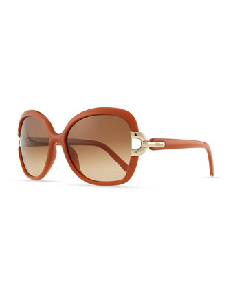 Brunelle Square Sunglasses, Brick