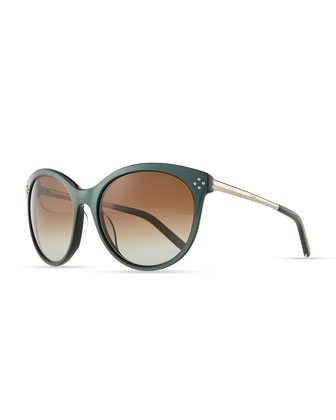Boxwood Cat-Eye Sunglasses, Green
