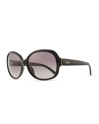 Calla Rounded Sunglasses, Black
