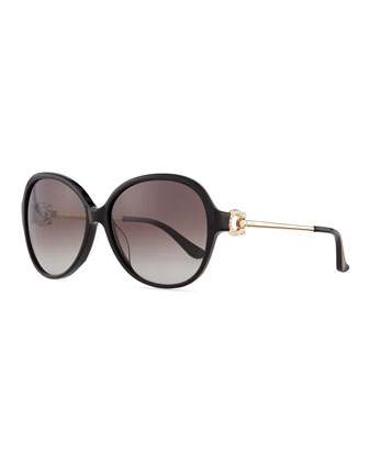 Crystal Gancino Horseshoe Sunglasses, Black