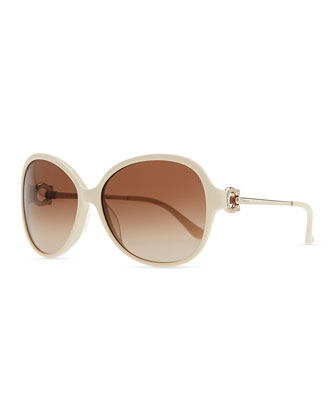 Crystal Gancio Horseshoe Sunglasses, Ivory