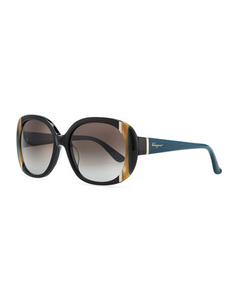 Round Striped Acetate Sunglasses, Black/Multi