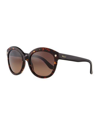 Mini-Gancini Temple Sunglasses, Tortoise/Black