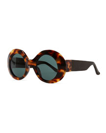 Row 48 Thick Plastic Oval Tortoise Sunglasses
