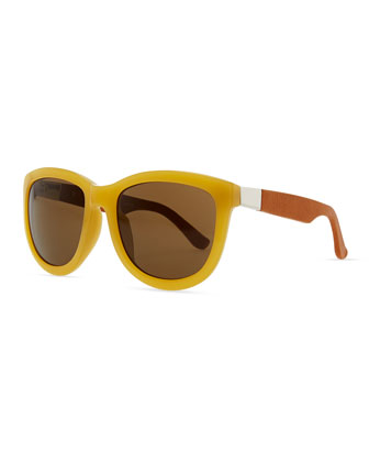 Row 7 Leather-Arm Plastic Sunglasses, Gold