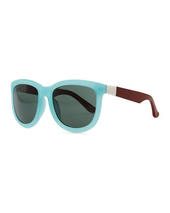 Row 7 Leather-Arm Plastic Sunglasses, Teal