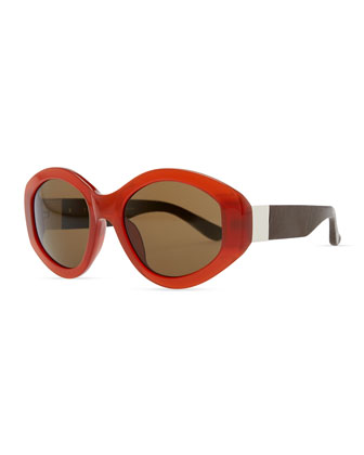 Row 71 Thick Plastic Oval Sunglasses, Rust