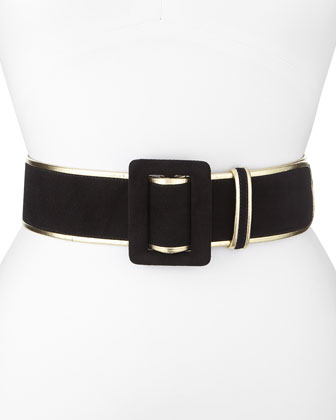 Wide Bicolor Suede Belt, Black/Gold