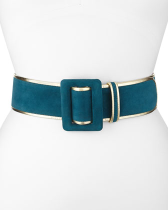 Wide Bicolor Suede Belt, Forest Green/Gold