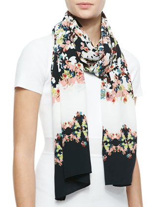 Long Silk Peabody Wallpaper Floral Scarf, Black/White/Multi