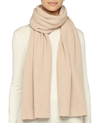 Textured Knit Scarf, Camel