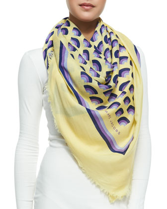 Geometric Fan-Print Scarf, Yellow/Multi