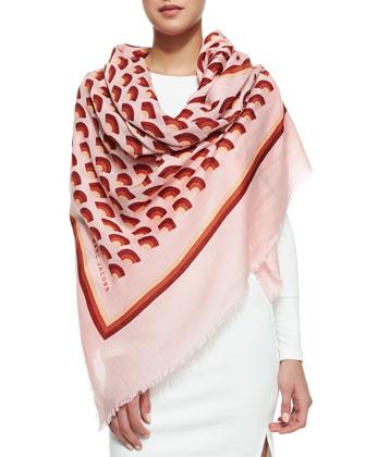 Geometric Fan-Print Scarf, Pink/Multi