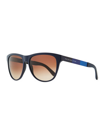 Plastic Round-Bottom Rectangle Sunglasses, Blue/Brown