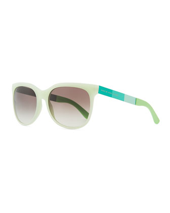 Plastic Round-Bottom Rectangle Sunglasses, Green