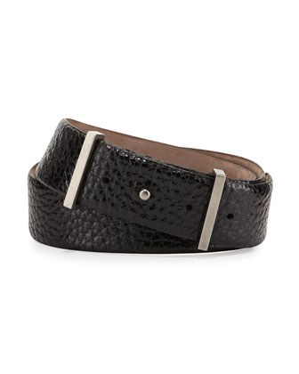 Punch-Hole Pebbled Leather Belt, Black
