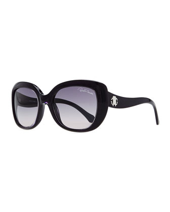 Plastic Oval Sunglasses, Black/Blue