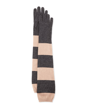 Elbow-Length Striped Cashmere Gloves