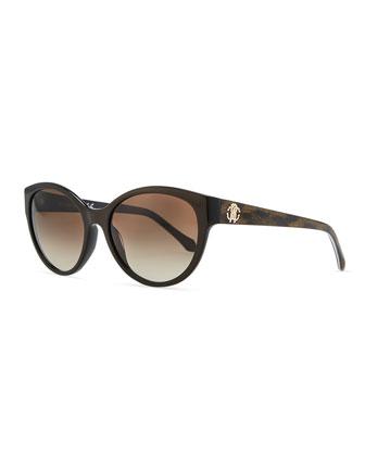 Plastic Oval Sunglasses, Brown