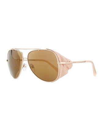 Metal Aviator Sunglasses, Rose Golden/Pink