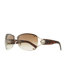 Oval Gradient Sunglasses with Open GG Temple, Tortoise