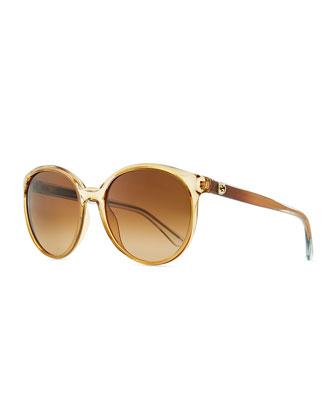 Round Transparent Plastic Sunglasses, Caramel