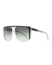 Studded Plastic Shield Sunglasses, Clear/Gray
