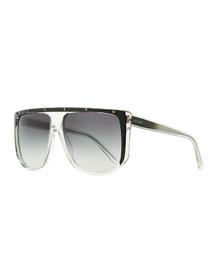 Studded Plastic Shield Sunglasses, Clear/Gray