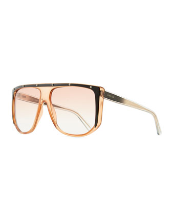 Studded Plastic Shield Sunglasses, Orange