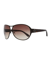 Metal Shield Sunglasses with Tortoise Arms, Brown