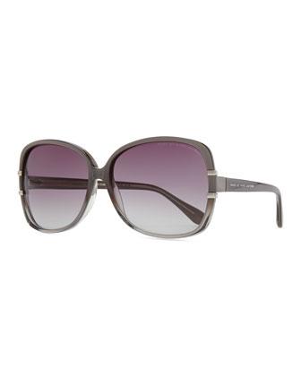 Oversized Plastic Sunglasses, Transparent Gray