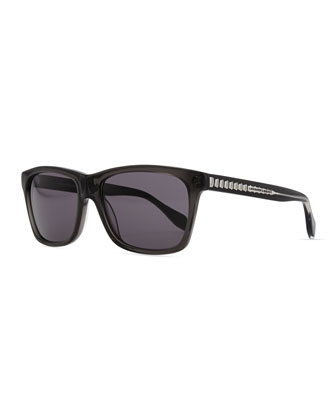 Acetate Rectangle Sunglasses, Black/Gray