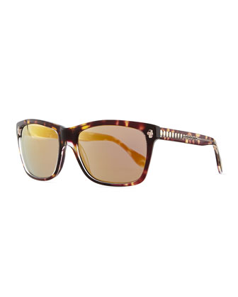 Havana & Golden Rectangle Sunglasses, Brown