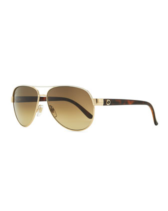 Metal Aviator Sunglasses with Ivory Brow
