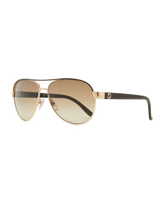 Metal Aviator Sunglasses with Brown Brow