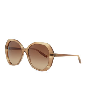Plastic Oversized Sunglasses, Shell Beige