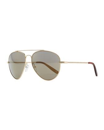 Metal Aviator Sunglasses, Golden/Green