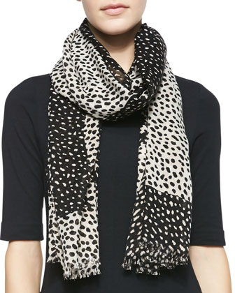 Dotted Double-Face Scarf, Black/White