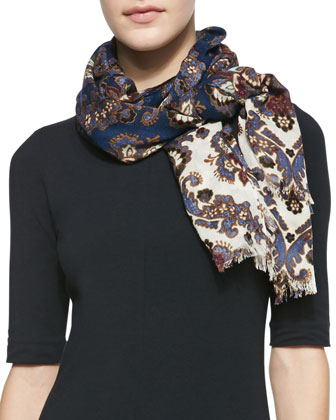 Damask Printed Scarf, Navy