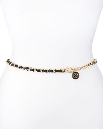 Logo Charm Leather Threaded Chain Belt, Black