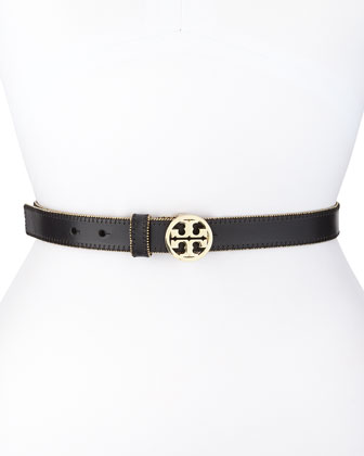 Logo Medallion Beaded Trim Hip Belt, Black