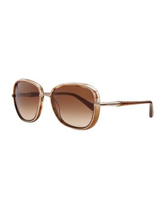 Round Metal & Plastic Sunglasses, Shiny Camel