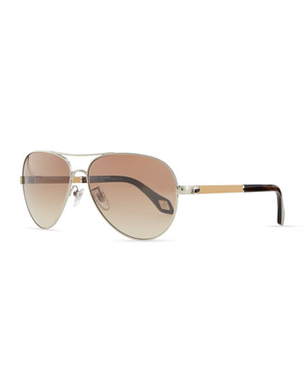 Metal Aviator Sunglasses, Tan/Multi