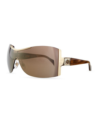 Rimless Shield Sunglasses with Plastic Arms, Gold
