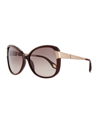 Glittered Plastic Sunglasses with Hammered Metal Arm, Brown